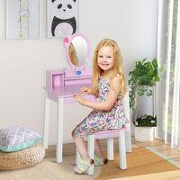 HOMCOM Tocador para Niña con Taburete Espejo y Mesa de Maquillaje Infantil 60x34x93 cm - Multicolor