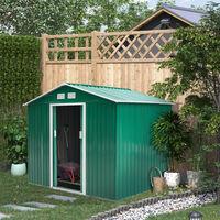 Outsunny Caseta de Jardín tipo Cobertizo Metálico para Herramienta 277x195x192 cm Verde - Verde