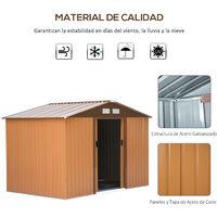 Outsunny Caseta de Jardín tipo Cobertizo Metálico para Herramienta 277x195x192 cm Ocre - Ocre