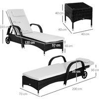 Outsunny Set 2 Tumbonas y Mesa con Respaldo Ajustable Chaise Longue para Jardín o Terraza - Negro