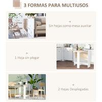 HOMCOM Mesa de Comedor Plegable con 2 Alas Abatibles Moderno para Cocina 103x76x73,5cm - Roble y blanco