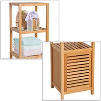 HOMCOM Estantería de Bambú para Baño Armario Alto Librería Organizador 4 Nivel 1 Puerta - Bambú natural