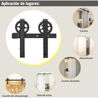 HOMCOM Herraje Puerta Corredera 200 cm Kit de Rieles Deslizantes para Puerta de Granero - Negro