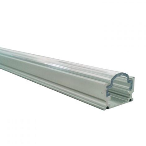 Perfil aluminio tira led superficie 1 mts. - Difusor curvo transparente