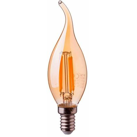 Bombilla LED E14 filamento vela efecto llama Gold Cover 4W 2200K