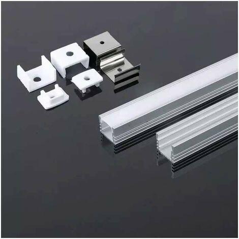 Perfil aluminio tira LED en superficie 2 metros - Difusor plano Milky cover