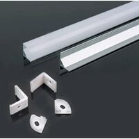 Perfil aluminio tira LED de esquina sup. 2 m - Difusor curvo Milky cover