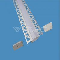 Perfil aluminio tira LED empotrable 2 metros - Difusor plano Milky cover