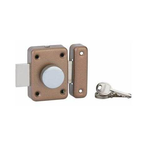 Verrou alouette cylindre 35mm, epoxy bronze, 3 clés