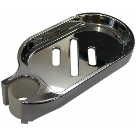Porte savon chromé pour barre de douche de diamètre 25 mm