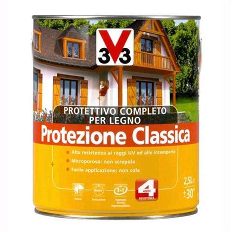V33 Protettivo Completo Legno Protezione Classica Colore Noce Scuro 3 Litri