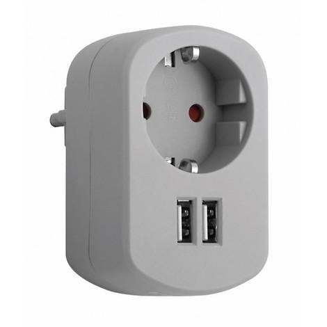 Adaptador elec 16a-250v 1 toma+2 usb 2.1 gr/cen simon b