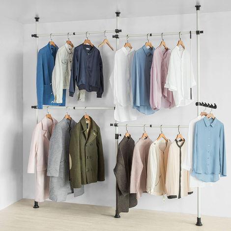 SoBuy Telescopic Wardrobe Organiser Hanging Rail Clothes Storage Shelf,KLS03