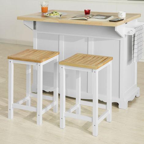 SoBuy Set of 2 Wooden Kitchen Breakfast Bar Stool, Kitchen Stool Dining Stool Bathroom Stool,FST29-WNx2