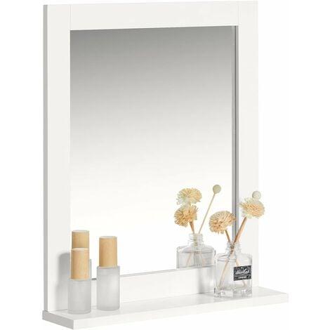 SoBuy Wood Wall Bathroom Mirror with Shelf, Bathroom Storage Rack, FRG129-W