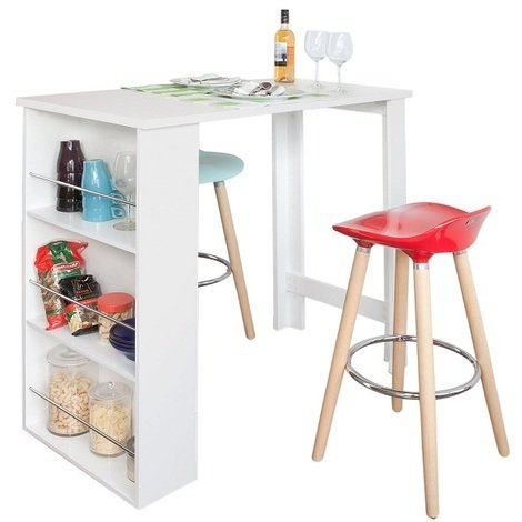 SoBuy Kitchen Dining Table,Coffee Bistro Bar Table with Storage Rack,FWT17-W