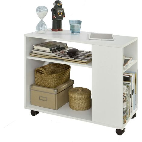 SoBuy Side End Table with Storage Shelves,2 Tiers Bookcase on Wheels,FBT34-W