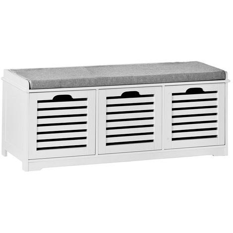 SoBuy Shoe Storage Bench With Drawers & Cushion,FSR23-W