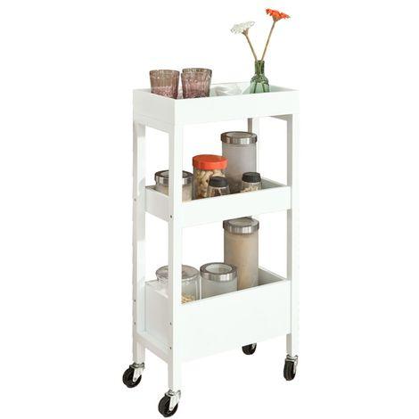 SoBuy Wood Kitchen Serving Hostess Trolley White,FKW49-W