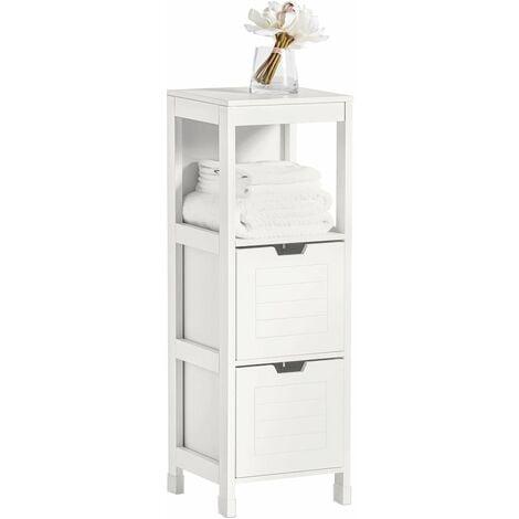 SoBuy Bathroom Storage Cabinet Unit with 1 Shelf and 2 Drawers FRG127-W