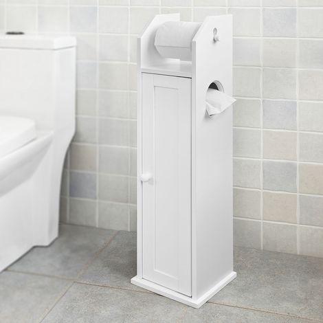 SoBuy Free Standing Wood Bathroom Cabinet,Toilet Paper Roll Holder, FRG135-W