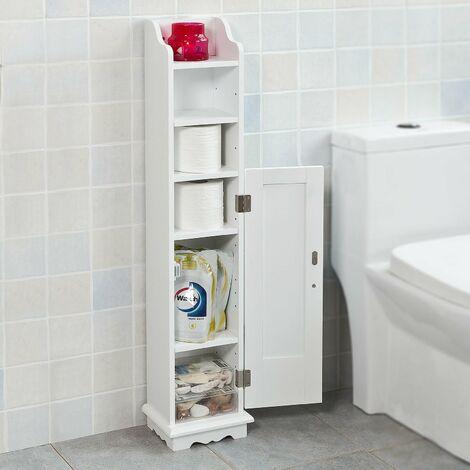 SoBuy Wooden Bathroom Toilet Paper Storage Cabinet FRG177-W