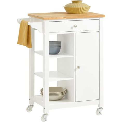 SoBuy Kitchen Storage Trolley Cabinet Cart,Drawer and Shelves,White,FKW46-WN