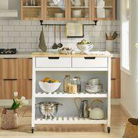 SoBuy White Wood Kitchen Trolley Storage Cupboard Bar Table FKW74-WN