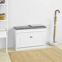 SoBuy Hallway Shoe Storage Cabinet with Flip-Drawer & Padded Sest ,ideal for a narrow corridor,FSR82-K-W