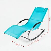 SoBuy Set of 2 Sun Loungers and Recliners with Side Bag,Blue, OGS28-HBx2