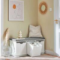 SoBuy Shoe Storage cabinet Hallway Padded Shoe Storage Seat Bench with Drawer ,FSR30-W