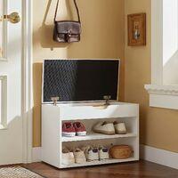 SoBuy White 2 Tiers Shoe Storage Bench with Padded Seat,FSR25-W