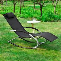 SoBuy Garden Rocking Deck Chair Recliners with Footrest,Black,OGS28-SCH