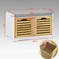 SoBuy Shoe Cabinet Storage Bench with 2 Drawers & Seat Cushion, FSR23-K-WN