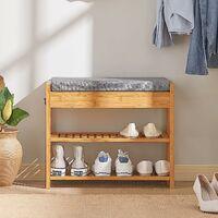 SoBuy Bamboo Padded Hallway Shoe Rack Seat Bench with Storage Drawer,FSR49-N