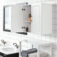 SoBuy White Kitchen Bathroom Wall Unit with Double Doors FRG231-W