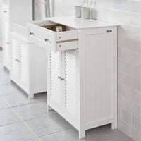 SoBuy White Storage Cabinet Cupboard with Drawer and Shutter Doors,FRG238-W