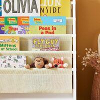 SoBuy Children Kids Bookcase Book Shelf Sling Storage Rack Organizer Display Holde FRG225-W