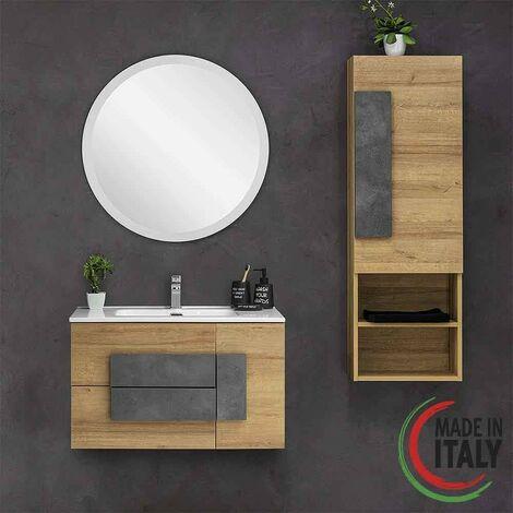 Composizione bagno installazione sospesa 80 cm Feridras Urban 804001   Rovere Grigio