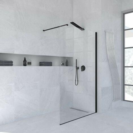 Parete doccia fissa 120 cm vetro trasparente finitura nero opaco Ponsi Rex BBREXKWALK0012 | 120 cm (118-120)