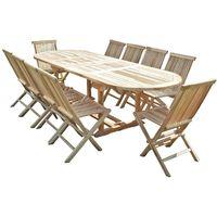 Salon de jardin en teck HENUA 10 chaises - MJEEJHENSC10