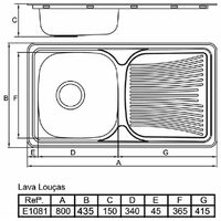 Evier a Encastrer INAREL E1081 Inox Lisse 1B 1E Avec Vidage