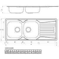 Evier a Encastrer INAREL E26001 Inox Lisse 2B 1E Avec Vidage