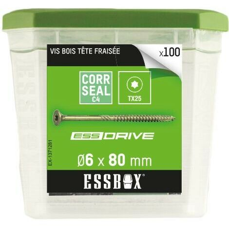 vis bois tête fraisée acier zingué 6x80mm Essbox