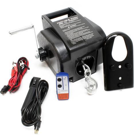 Torno cable eléctrico 12V Cabrestante Winche control remoto hasta 2267kg Tracción Cargas Outdoor