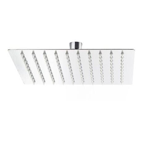 Cabezal ducha cuadrado 25x25cm Baño Grifo ducha efecto lluvia Acero inoxidable Elegante Espejo