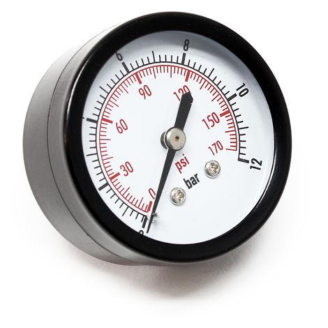 """Manómetro axial DN8 (1/4"""") 12.9mm 0-12bar"""