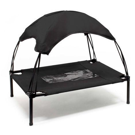 Hamaca mascotas Cama Perros Gatos Relax Jardín Outdoor Protección solar Sombrilla Animales XL Negro