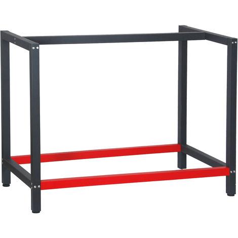 Bastidor para banco de trabajo 100x57x81cm Acero Antracita-rojo Armazón mesa taller Banco taller