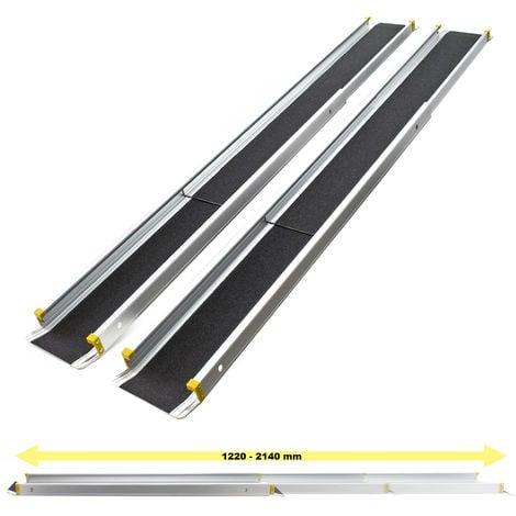 Rampas telescópicas de aluminio set 2x con cobertura antideslizante y cantos elevados máx. 270 kg